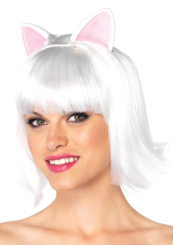 Leg Avenue Kitty Kat Bob Wig with Attached Ears W Adjustable Elastic Strap