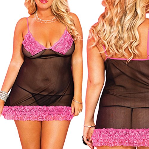 Sunward Sexy Women Large Size Pajamas Fat Princess Underwear Erotic Lingerie