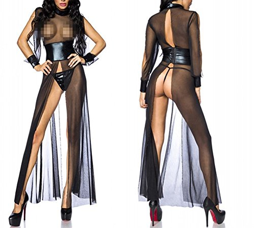 Sexy Long Nightgown Lingerie for Women Black Mesh Leather Transparent Nightdress