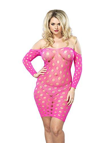 Leg Avenue Women's Plus Size Seamless Shredded Mini Dress with Side Detail