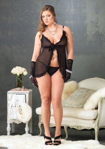 Leg Avenue Women's 2 Piece Tie Front Mesh Babydoll With Rhinestone Strap And Panty