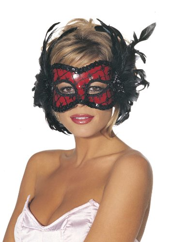 Shirley Of Hollywood  Adult Beaded Feathered Eye Mask