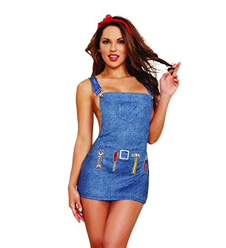Dreamgirl Women's Sexy Denim-Printed Stretch Knit Overall Lingerie Apron