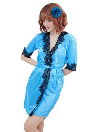 Amour – Sexy Lingerie Satin Silk Robe Pajama Loungewear Honeymoon (Blue)