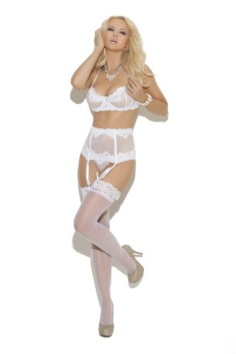 Elegant Moments Womens White Lace Bra, Garterbelt and Thong Set (34)