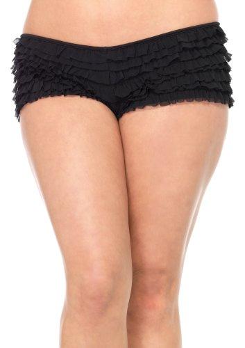 Leg Avenue Women's Opaque Mesh Ruffle Boy Short With Satin Bow Accent