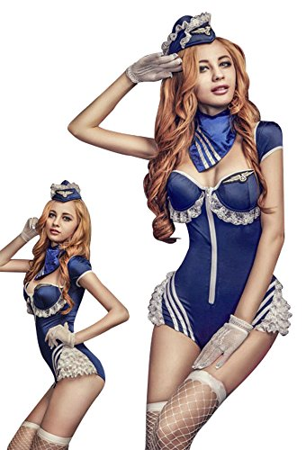 Sexy lingerie Naughty Sailor/Stewardess Uniform Cleavage Cosplay