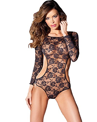 Be Wicked Women's Long Sleeve Floral Lace Teddy