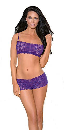 Escante Women's Playful Day Or Night Spaghetti Short with Matching Lace Boyshort