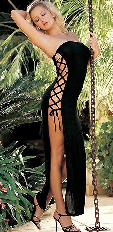 Sexy Lace Up Side Open Panels Long Slinky Tube Top Dress Lingerie Adult Women