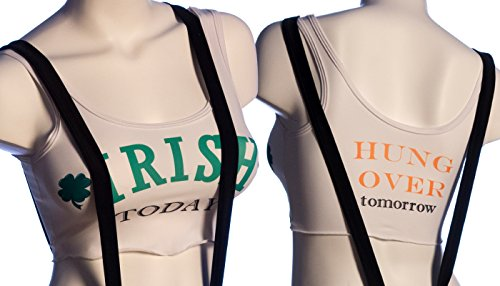 """BodyZone Apparel St. Patty's Day """"Irish Today Hung Over Tomorrow"""" Crop Top. Multi Color. O/S. Made in USA."""
