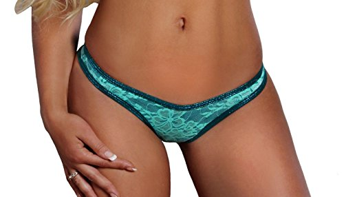 BodyZone Apparel Sexy Destiny Thong Panty. Turquoise. One Size. Made in USA.