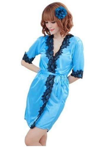 Women's Sleepwear Robe Bathrobes+g-string Thongs Pajamas Lingerie Nightdress
