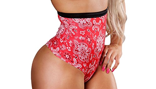 BodyZone Apparel Sexy Moxie High Waisted Short. Red/Black. One Size. Made in USA.