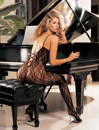 Sexy Floral Lace Open Front Criss Cross Back Bodystocking Lingerie Adult Women