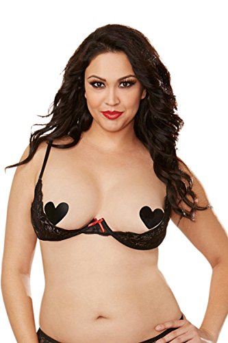 Dreamgirl Women's Plus-Size Sexy Scalloped Lace Open Cup Underwire