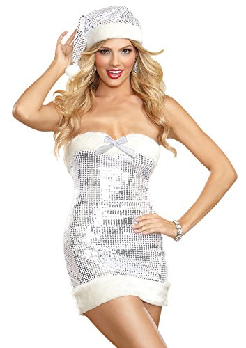 Dreamgirl Women's Sequin and Fur Dress and Hat