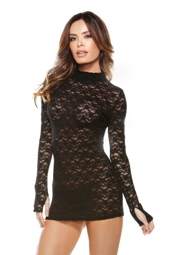 Fantasy Lingerie Women's Collared Lace Dress with G-String