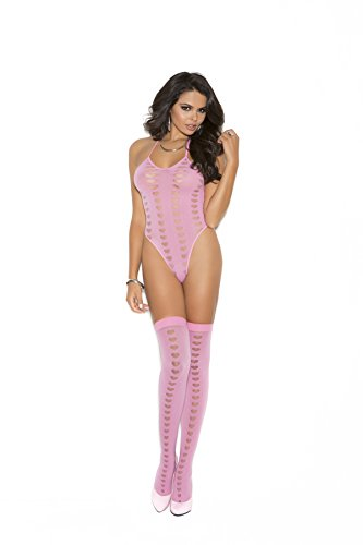 Opaque halter neck teddy and stockings with mesh heart burnout detail