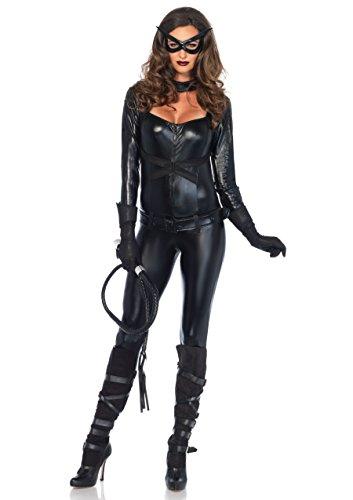 Leg Avenue 4 Piece Cat Girl Jumpsuit Belt Gloves And Eye Mask