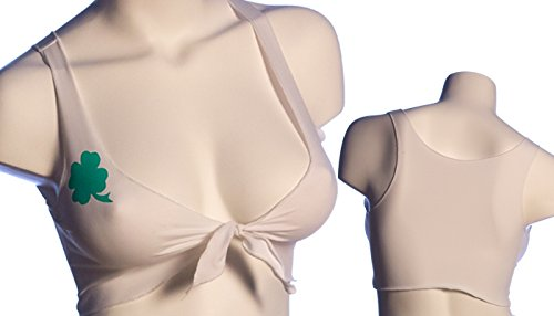 BodyZone Apparel Sexy St. Patty's Day Murphy Front Tie Top. White/Green. One Size. Made in USA.