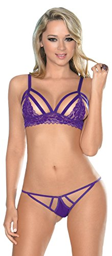 Escante Women's Strappy Cups Bra and Matching Panty Set with Lace Trim