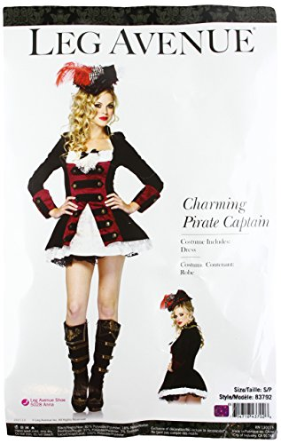 Leg Avenue Women's Charming Pirate Captain Layered Waistcoat Dress With Lace Accent