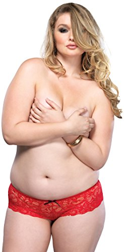 Leg Avenue Women's Plus Size Stretch Lace Open Crotch Thong