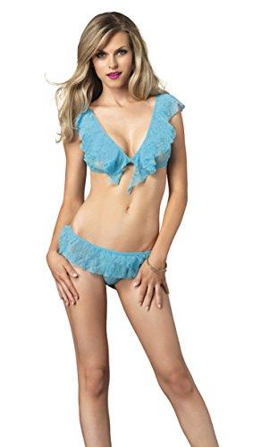 Leg Avenue Women's Flirty Lace Ruffle Crop Top and G-String