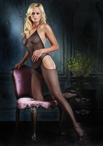 Leg Avenue Women's Seamless Fishnet Halter Suspender Bodystocking