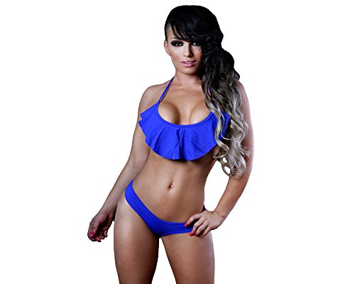 BodyZone Apparel Sexy Tricot Flounce Halter Top and Super Micro Shorts Set. Royal Blue. One Size. Made in USA.