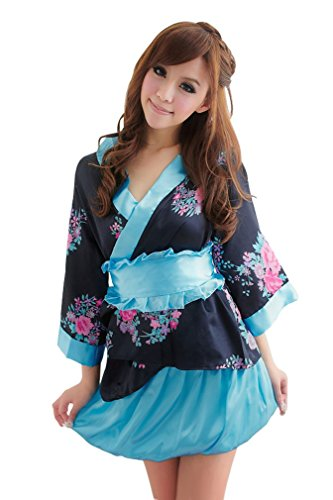 Amour-Women Lingerie Cosplay Kimono Night Dress+Thongs+Belt Sleepwear (M, AR1077)