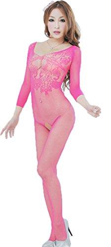 TRURENDI Sexy Woman Open Crotch Mesh Fishnet Bodystocking Stocking Lingerie (Rose)