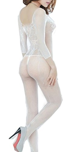 TRURENDI Sexy Woman Open Crotch Mesh Fishnet Bodystocking Stocking Lingerie (White)