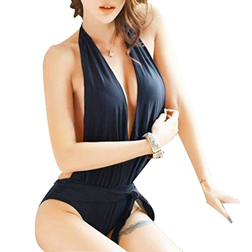 DGAGA Sexy Hot Lingerie for Women One-piece Halter Black Straps