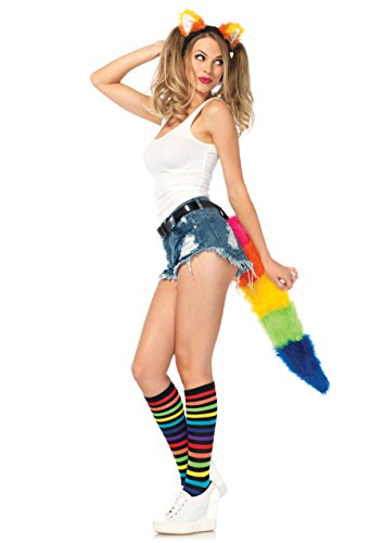 Leg Avenue Costumes 2Pc.Rainbow Fox Kit Ear Headband and Furry Tail with Belt Loop
