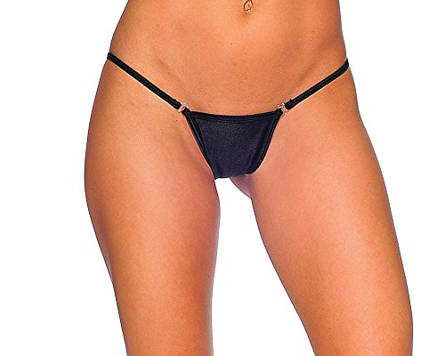 BodyZone Apparel Sexy Low Back Tee Panty with Breakaway Clip. Black. O/S. Made in USA.