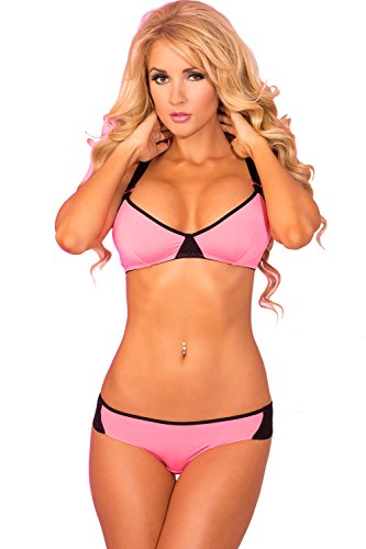 Pink Lipstick Women's Pl-90 XXX Sport Bra and Panty Set