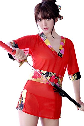 Amour-Women Lingerie Cosplay Kimono Night Dress+Thongs+Belt Sleepwear (M, MM8047)