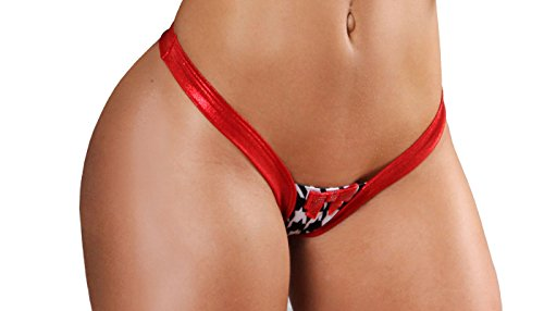 BodyZone Apparel Sexy Paulette Thong Panty. Black/Red. One Size. Made in USA.
