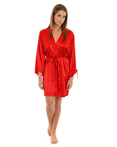 Womens Short Kimono Robe Satin Charmeuse Lingerie Red Bath Robe One Size Wrap