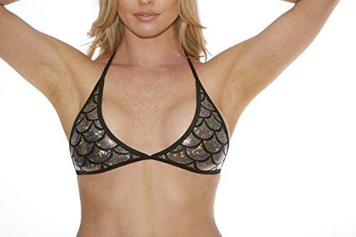 Bodyshotz Women's Metallic Mermaid Curved Cup Halter Bra Top