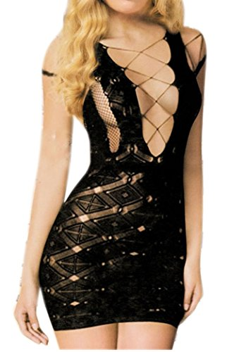 Women's Sexy Black Fishnet Lingerie Body Stocking Sleepwear Mini Dress
