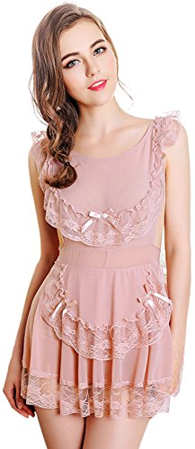 Queen.M Vintage Lace Princess Style Sleepwear Backless Back Close Sexy Lingerie