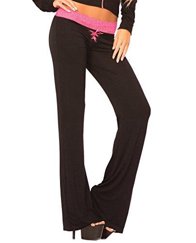 Pink Lipstick Loungewear Lace Trim Lounge Pant Black MD