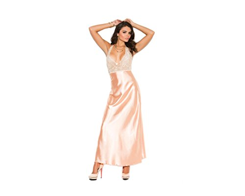 Elegant Moments Women's Lace and Charmeuse Halter Neck Gown