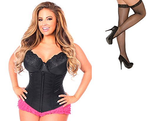 Bundle 2 Items: Daisy's Underbust Corset Zip Up Front Black 2X and Fishnet Stocking M75B