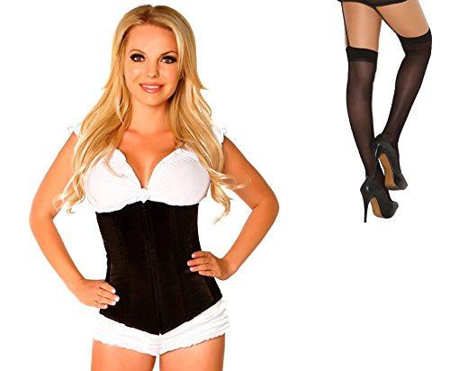 Bundle 2 Items: Daisy's Underbust Corset Zip Up Front Black XL and Sheer Thigh M25B