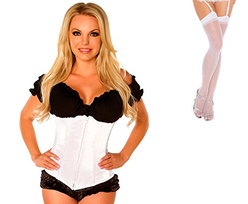 Bundle 2 Items: Daisy's Underbust Corset Zip Up Front White 4X and Sheer Thigh M25W