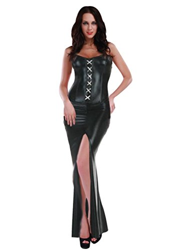 Amour-Hot Sexy Lingerie Black Metallic Long Dress Clubwear by Amour